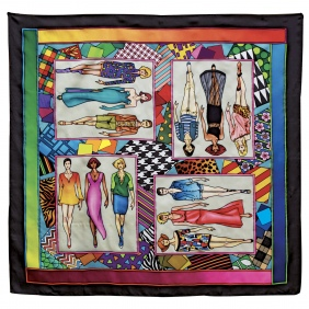 Silk scarves with preprinted gutta lines