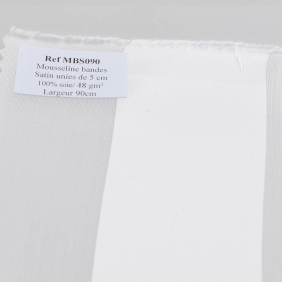 Mousseline bande satin au mètre - Mousseline bande satin uni - Roll of 6 meters - width 90 cm